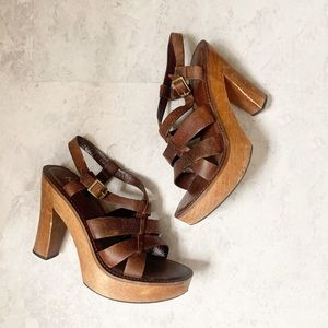 MIA Chunky 90's Y2K Strappy Leather Sandals 9